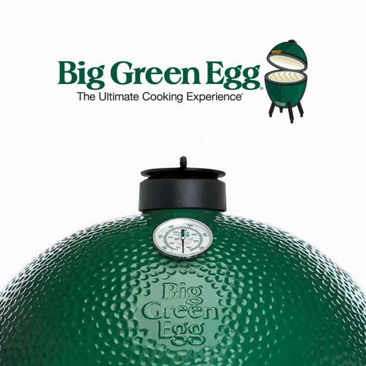 The Big Green Egg logo and the dimpled green lid of a Big Green Egg grill.