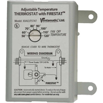 Ventamatic Power Attic Vent Thermostat with Firestat