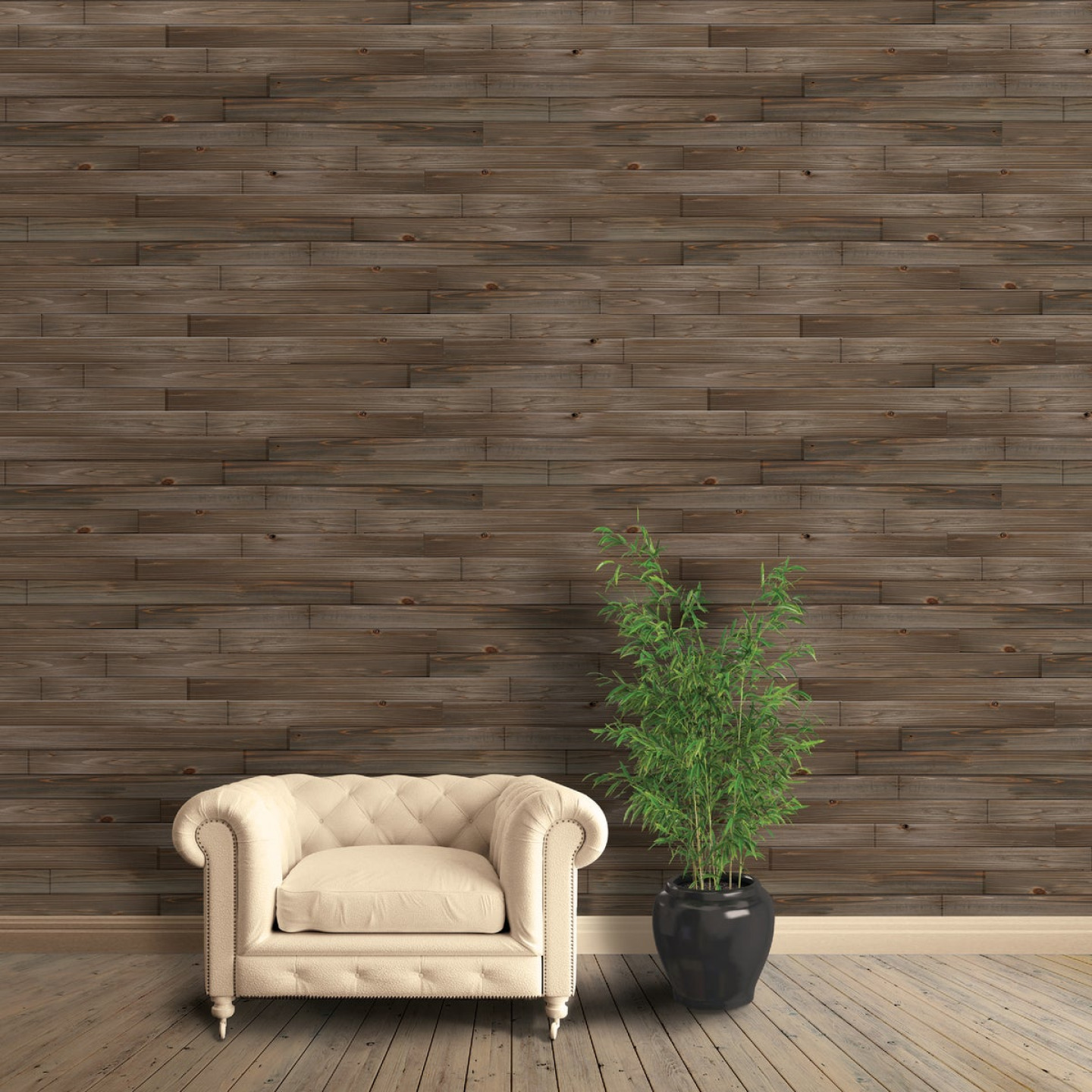 Global Product Sourcing 3-1/2 In. W. x 1/4 In. Thick Solid Wood Gray Reclaimed Wood Wall Plank Image 2