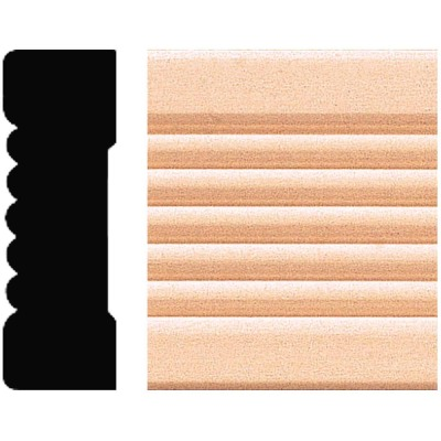 House of Fara 21/32 In. W. x 2-1/4 In. H. x 8 Ft. L. Natural Hardwood Fluted Wood Casing