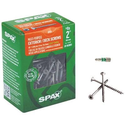 Spax #8 x 2 In. Flat Head Exterior Multi-Material Construction Screw (1 Lb. Box)