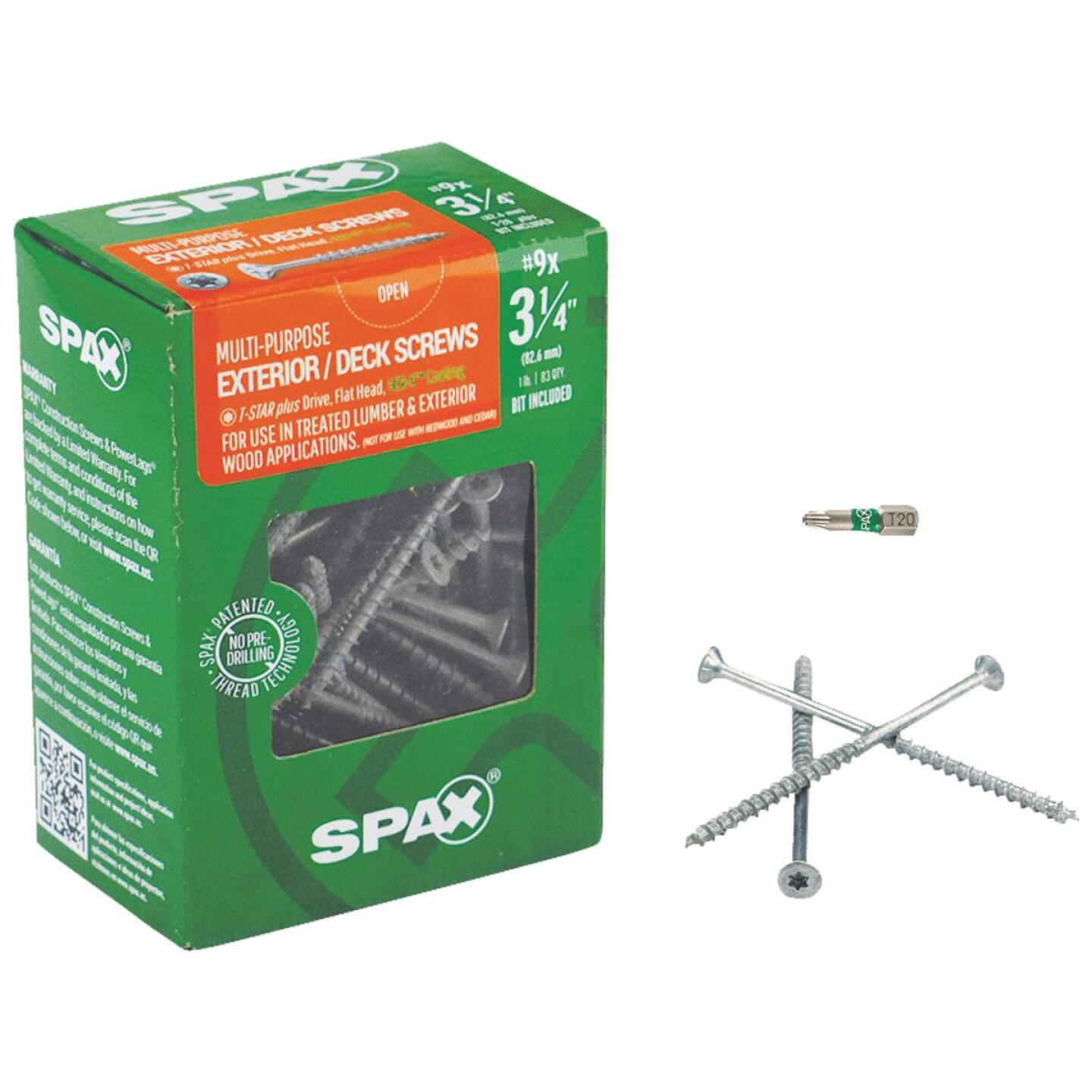 Spax #9 x 3-1/4 In. Flat Head Exterior Multi-Material Construction Screw (1 Lb. Box) Image 1