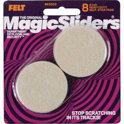 Magic Sliders 2 In. Round Oatmeal Self-Adhesive Heavy-Duty Furniture Pad (8-Pack)