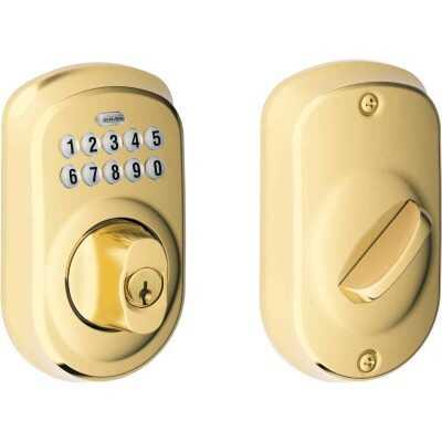 Schlage Keypad Bright Brass Electronic Deadbolt