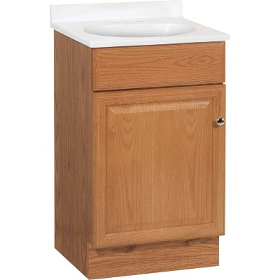 Continental Cabinets Richmond Oak 19 In. W x 35-1/4 In. H x 17 In. D Vanity with White Cultured Marble Top