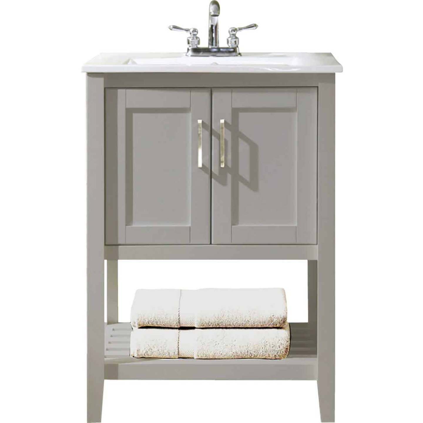 Design House Valerie Dove Gray 24 In. W x 34 In. H x 18 In. D Vanity with White Porcelain Top Image 1