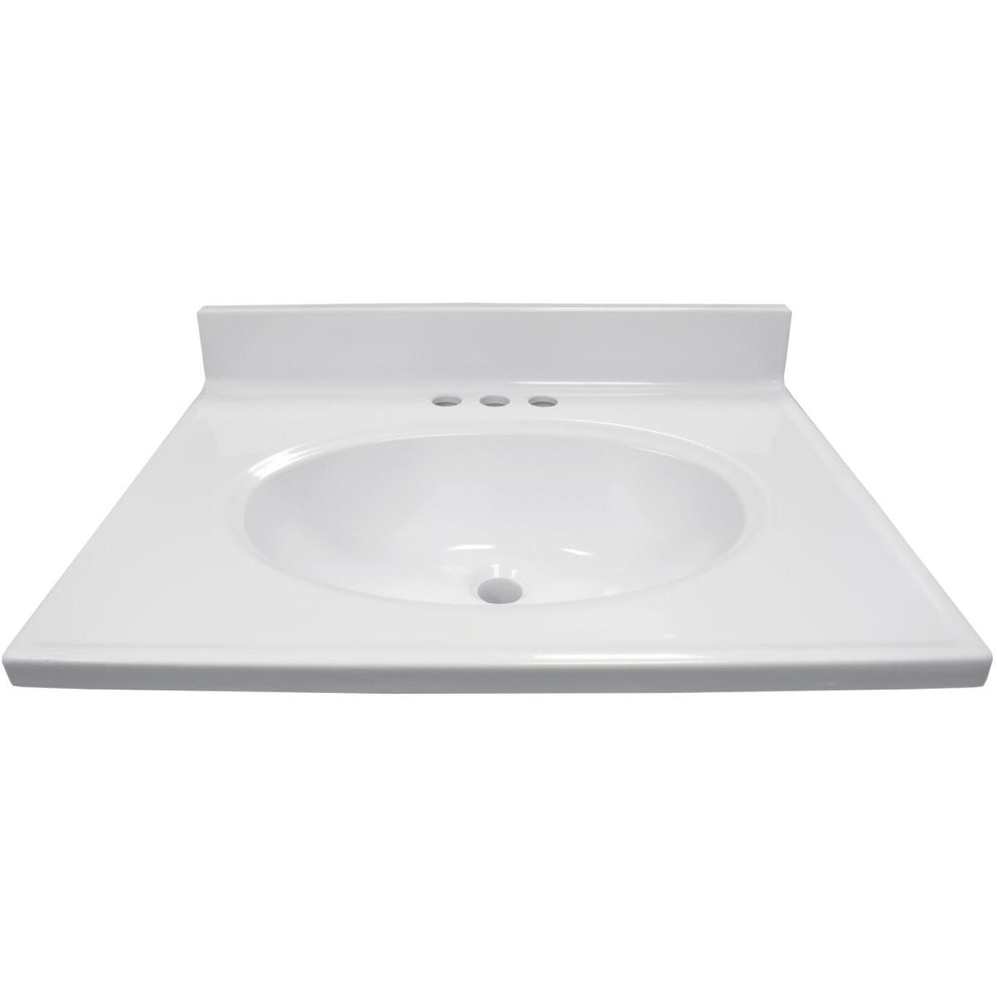 Modular Vanity Tops 25 In. W x 19 In. D Solid White Cultured Marble Vanity Top with Oval Bowl Image 2