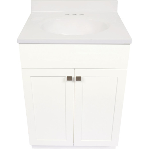Modular Charleston White 24 In. W x 34-1/2 In. H x 18 In. D Vanity with White Cultured Marble Top