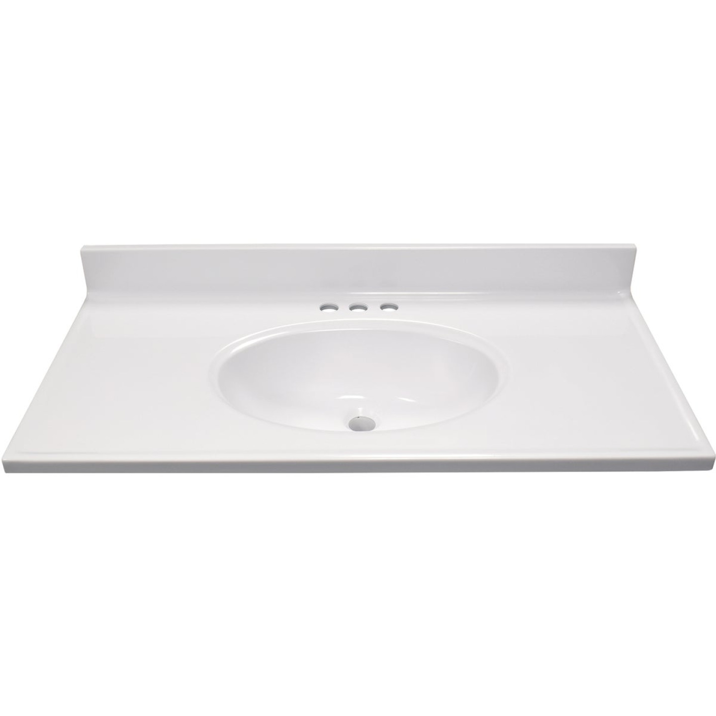 Modular Vanity Tops 37 In. W x 19 In. D Solid White Cultured Marble Non-Drip Edge Vanity Top with Oval Bowl Image 2