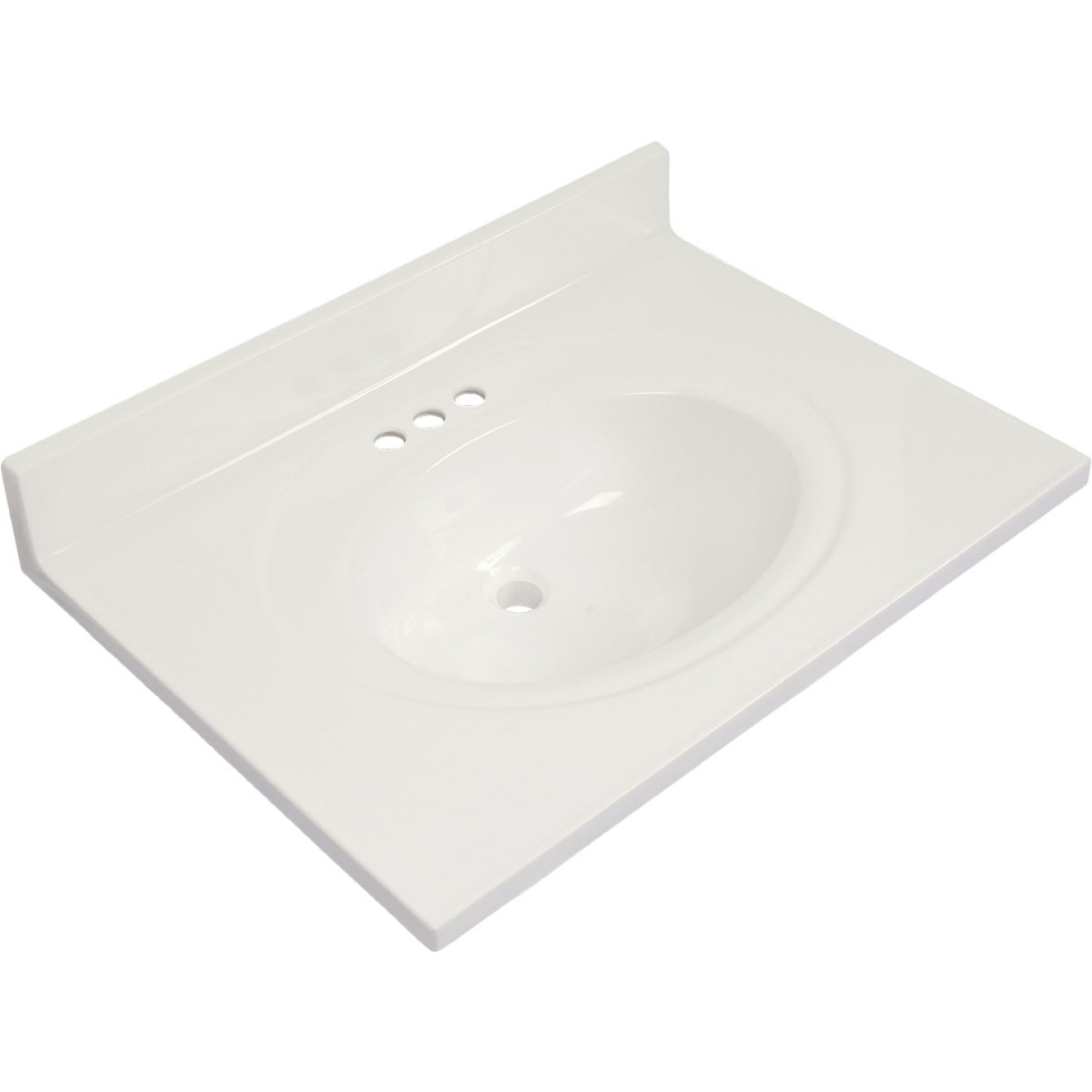 Modular Vanity Tops 31 In. W x 22 In. D Solid White Cultured Marble Flat Edge Vanity Top with Oval Bowl Image 1