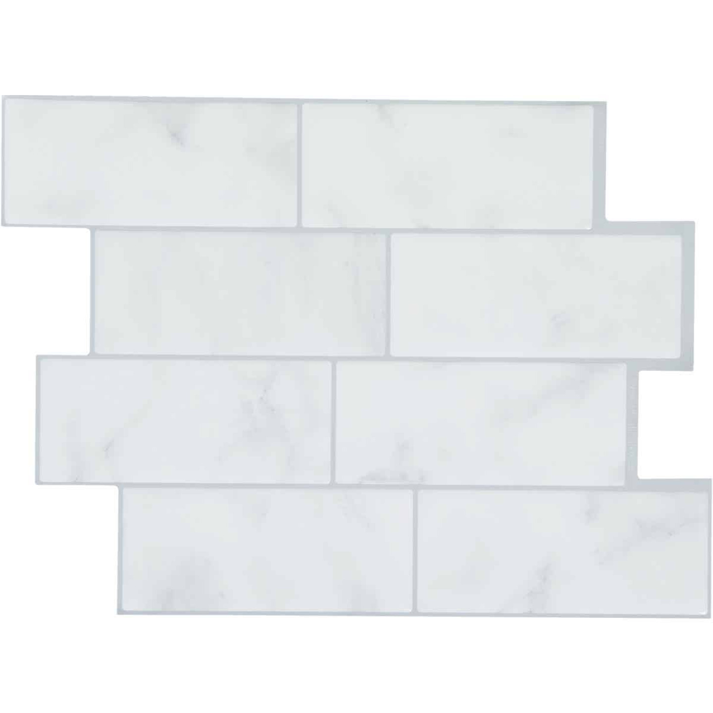 Smart Tiles Approx. 9 In. x 11 In. Glass-Like Vinyl Backsplash Peel & Stick, Metro Carrera Subway Tile (6-Pack) Image 1