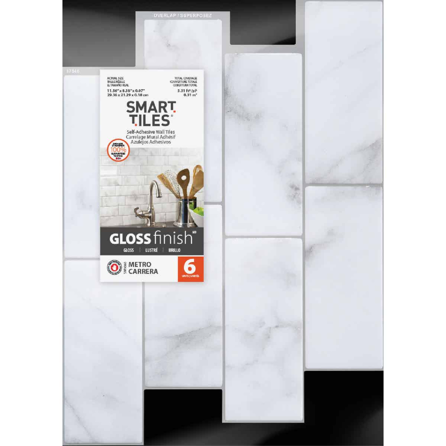 Smart Tiles Approx. 9 In. x 11 In. Glass-Like Vinyl Backsplash Peel & Stick, Metro Carrera Subway Tile (6-Pack) Image 2