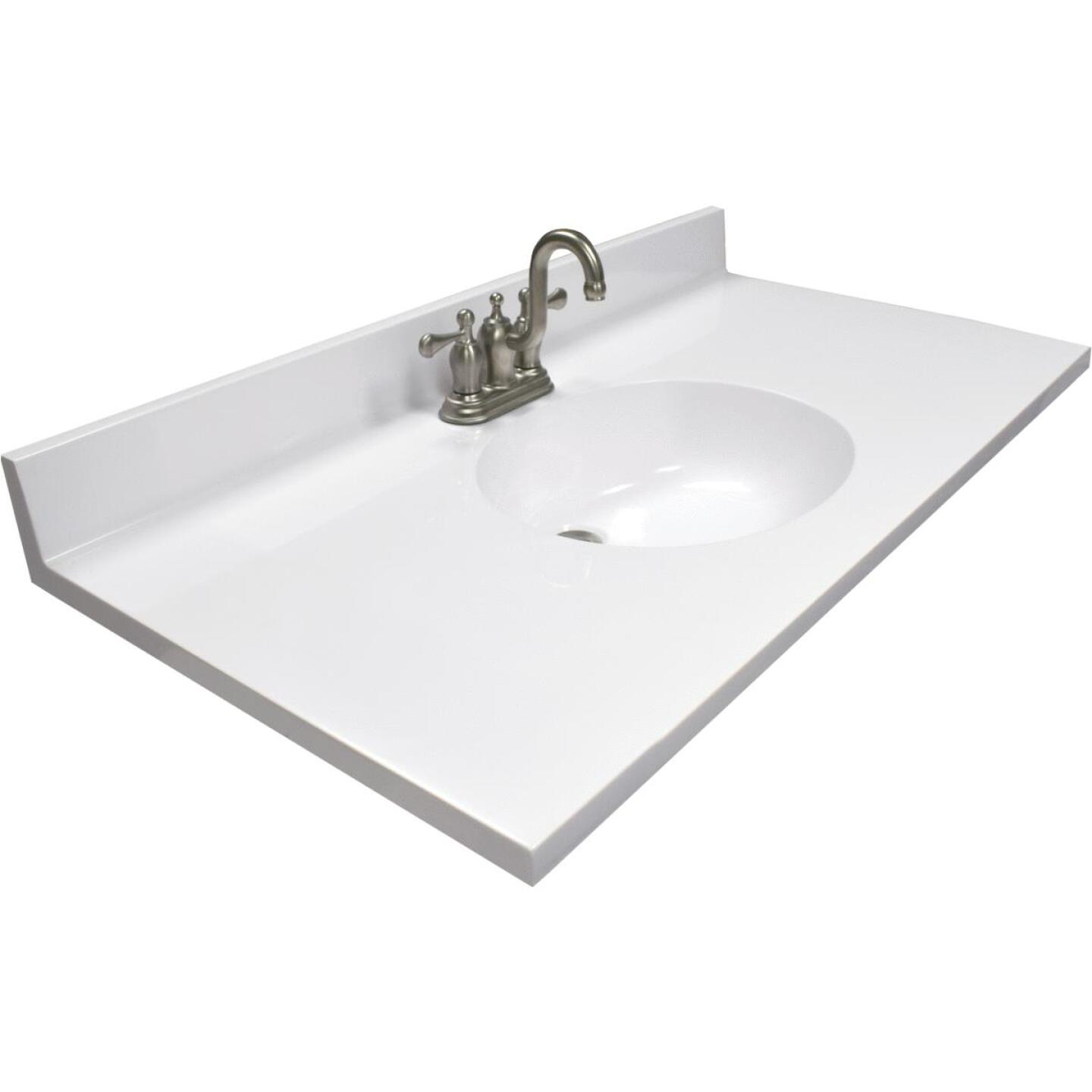 Modular Vanity Tops 37 In. W x 22 In. D Solid White Cultured Marble Vanity Top with Oval Bowl Image 1