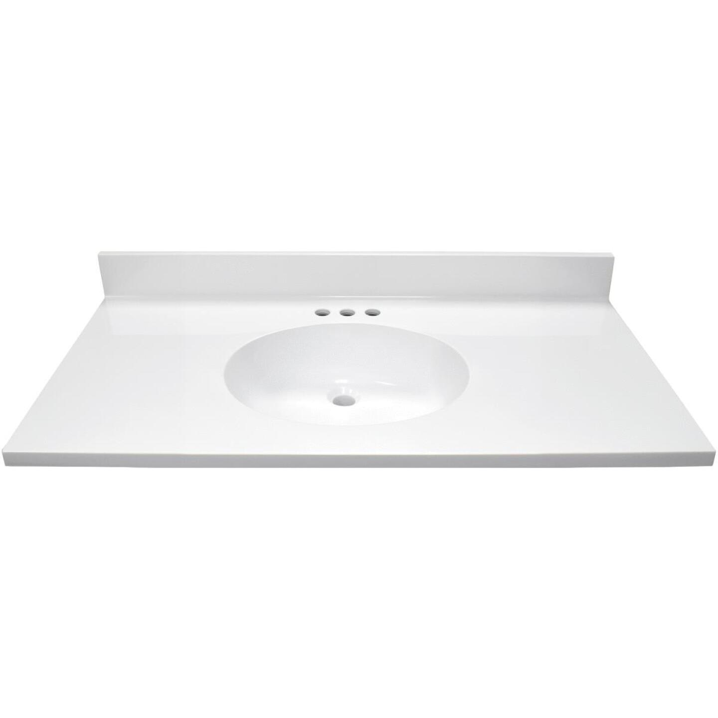 Modular Vanity Tops 37 In. W x 22 In. D Solid White Cultured Marble Vanity Top with Oval Bowl Image 2
