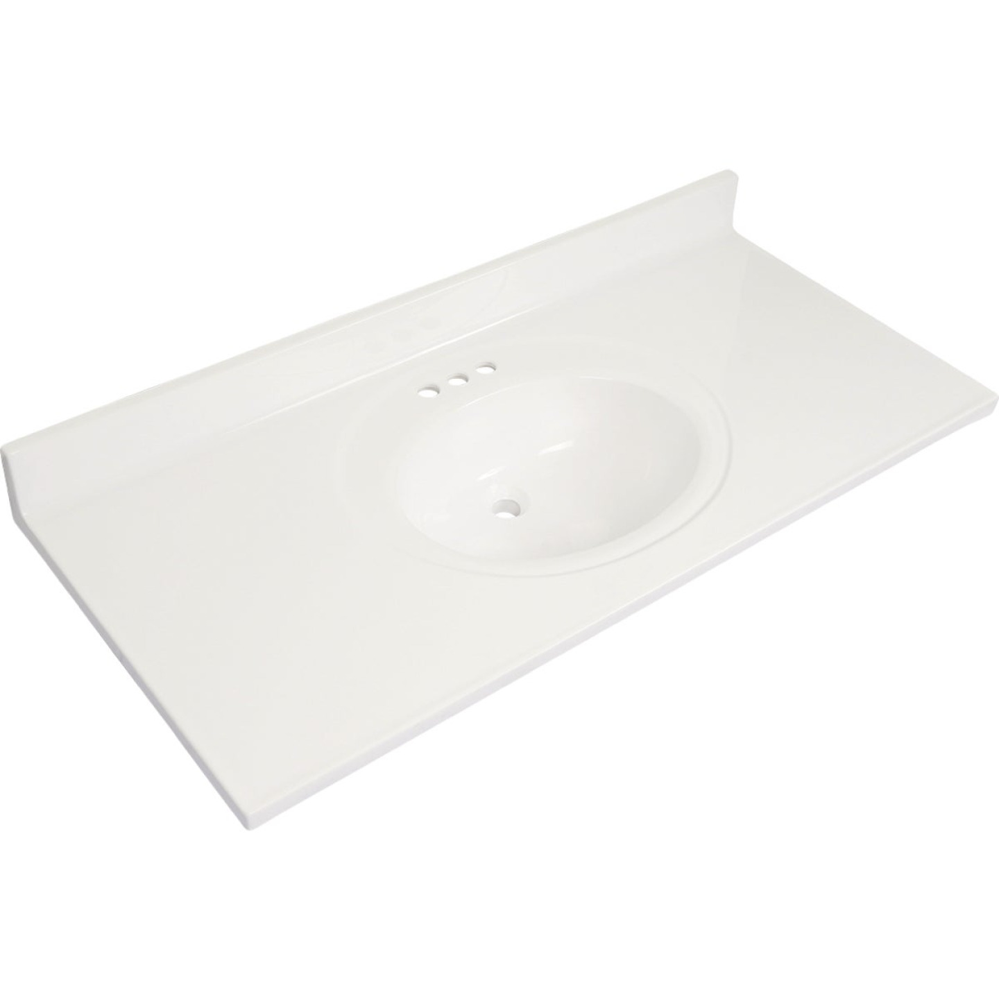Modular Vanity Tops 49 In. W x 22 In. D Solid White Cultured Marble Flat Edge Vanity Top with Oval Bowl Image 1