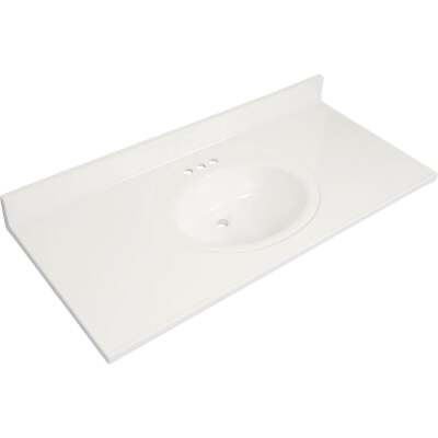 Modular Vanity Tops 49 In. W x 22 In. D Solid White Cultured Marble Flat Edge Vanity Top with Oval Bowl