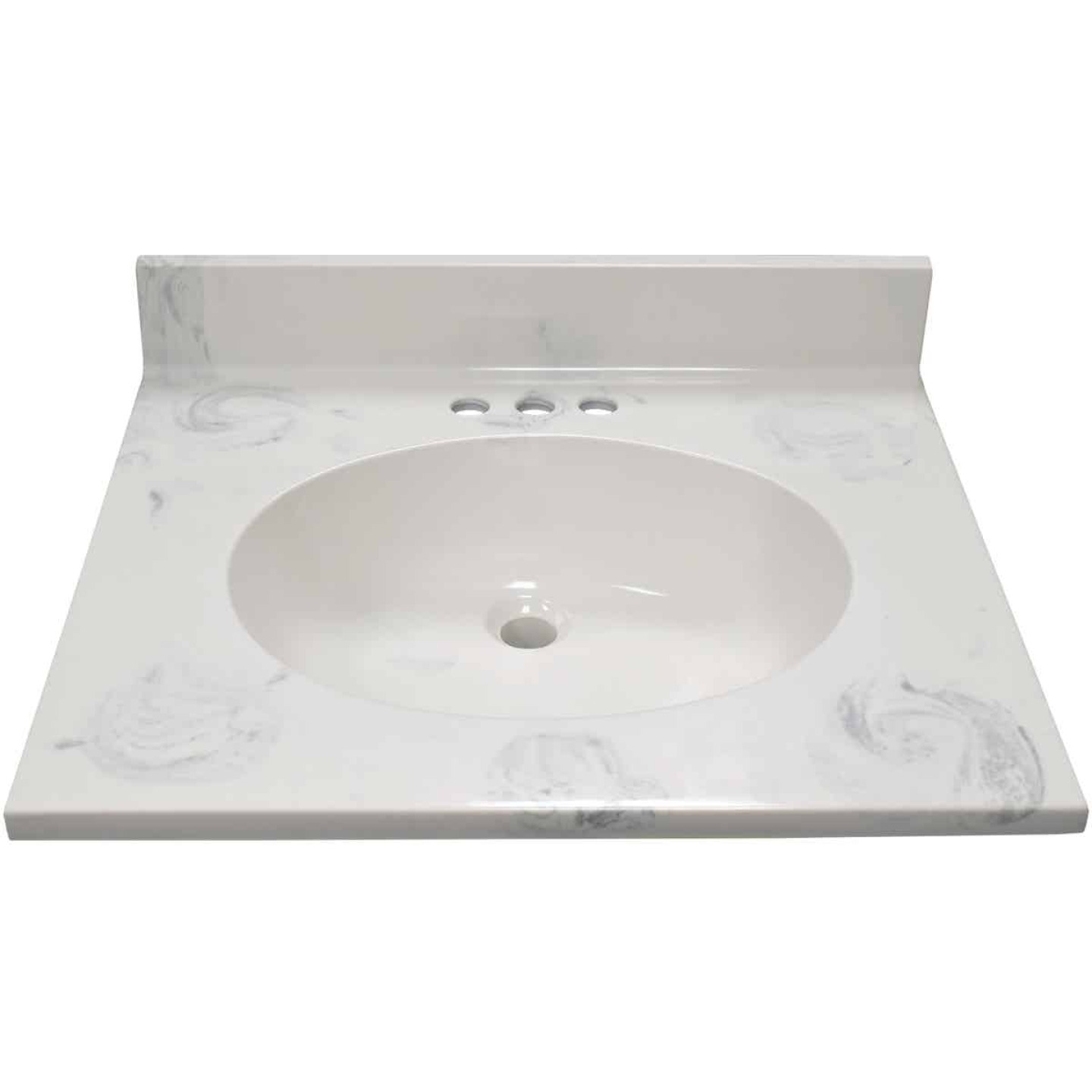 Modular Vanity Tops 25 In. W x 22 In. D Marbled Dove Gray Cultured Marble Flat Edge Vanity Top with Oval Bowl Image 2