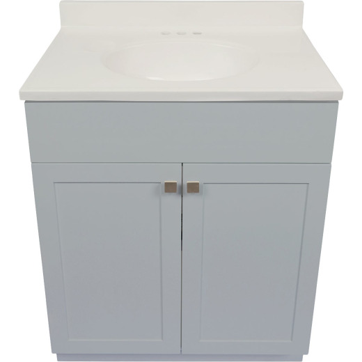 Modular Charleston Gray 30 In. W x 34-1/2 In. H x 18 In. D Vanity with White Cultured Marble Top