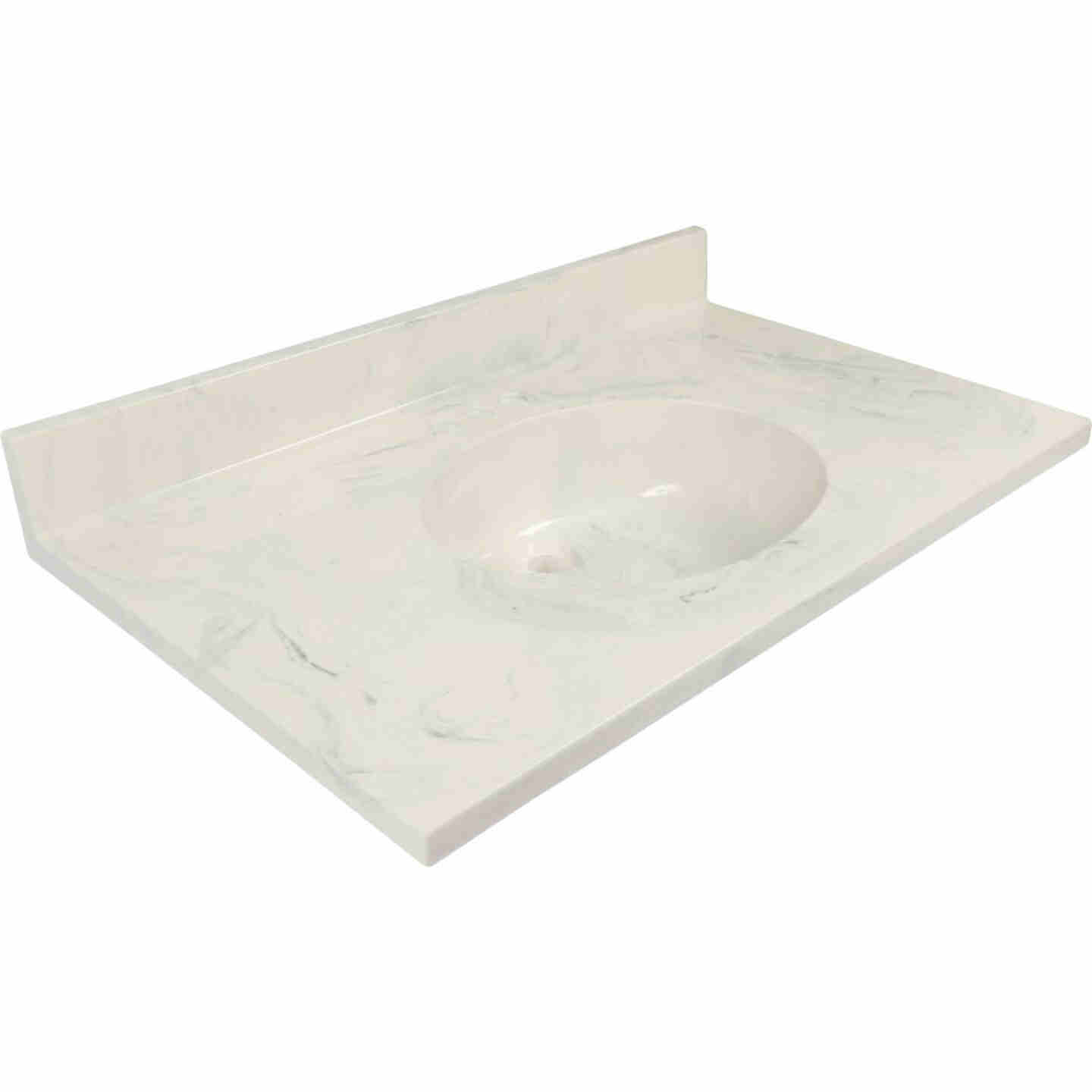 Modular Vanity Tops 37 In. W x 22 In. D Marbled Dove Gray Cultured Marble Flat Edge Vanity Top with Oval Bowl Image 1