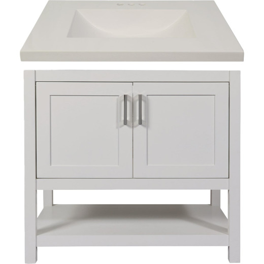 Modular Monaco White 36 In. W x 34-1/2 In. H x 21 In. D Vanity with White Cultured Marble Top