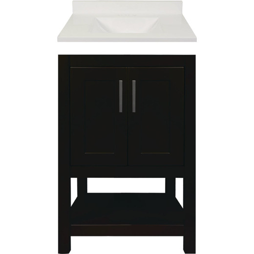 Modular Monaco Espresso 24 In. W x 34-1/2 In. H x 18 In. D Vanity with White Cultured Marble Top
