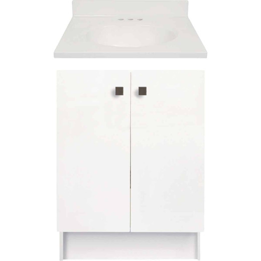 Modular Providence White 24 In. W x 34-1/2 In. H x 18 In. D Vanity with 25 In. W x 19 In. D White Cultured Marble Top