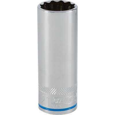 Channellock 1/2 In. Drive 21 mm 12-Point Deep Metric Socket