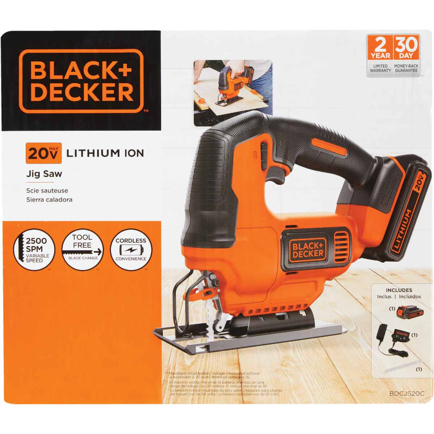 Black & Decker 20 Volt MAX Lithium-Ion 1.5 Ah Cordless Jig Saw Kit Image 4