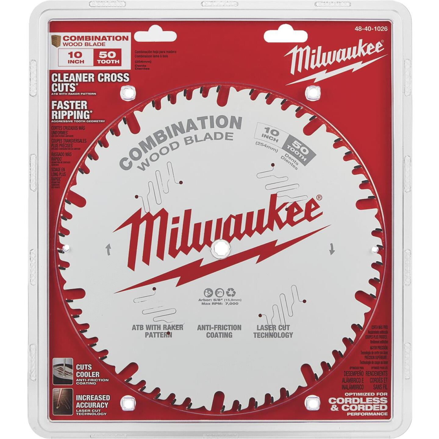 Milwaukee 10 In. 50-Tooth General Purpose Combination Wood Circular Saw Blade Image 2