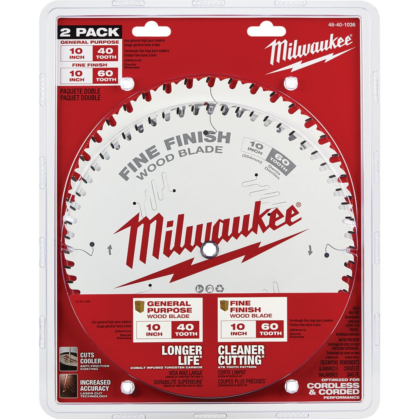 Milwaukee 10 In. 40-Tooth General Purpose & 60-Tooth Fine Finish Wood Circular Saw Blade (2-Pack) Image 2
