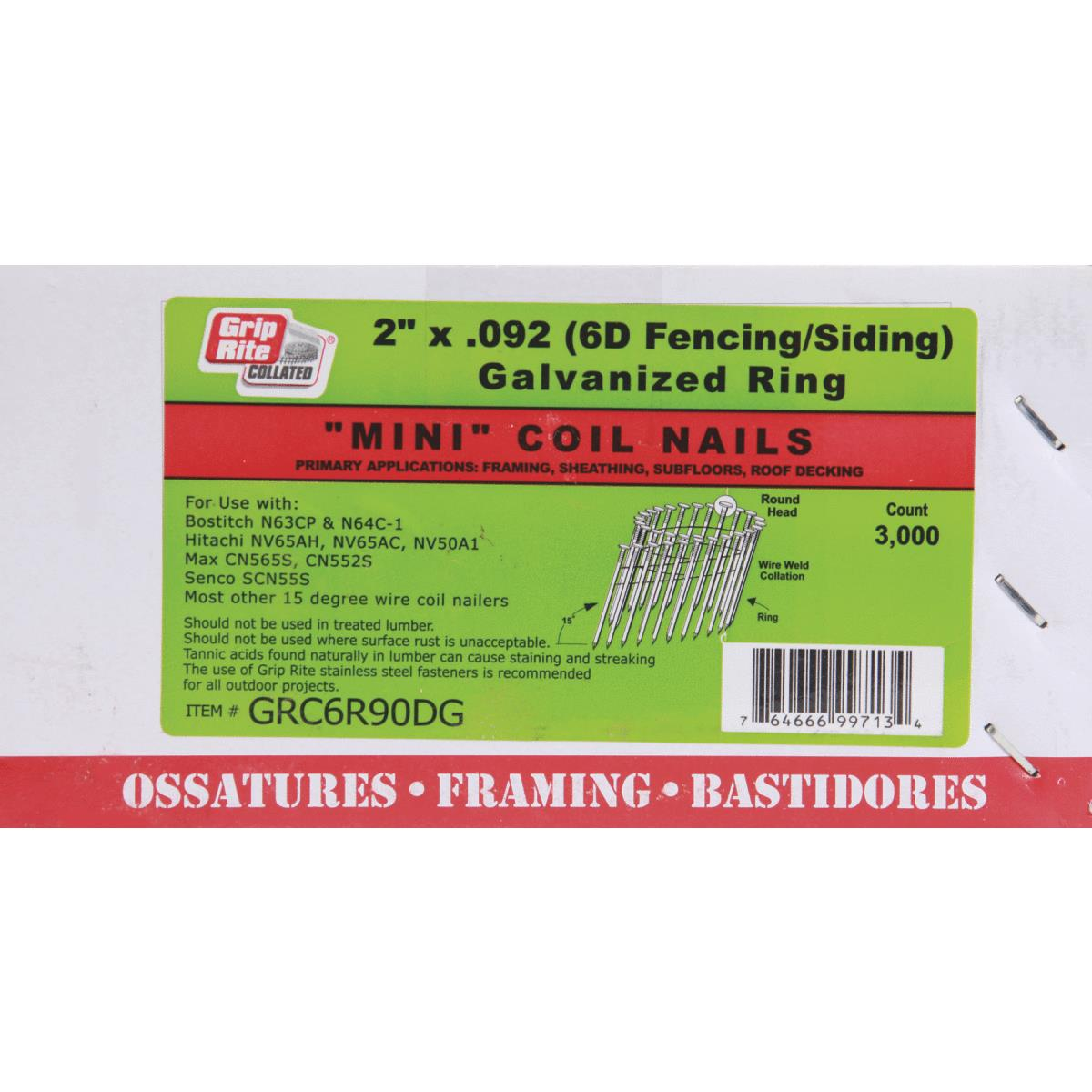 "X Cell Wire Coil Siding Nails 3,000 CT Collated Fasteners 2/"" X.092/"""