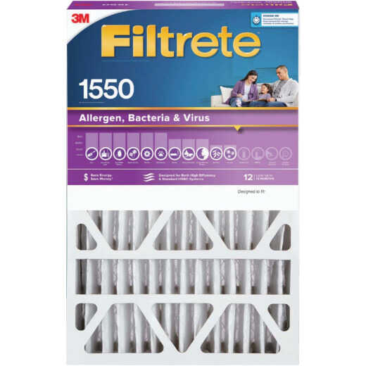 3M Filtrete 20 In. x 25 In. x 4 In. (Slim Fit) Allergen, Bacteria & Virus 1550 MPR Deep Pleat Furnace Filter