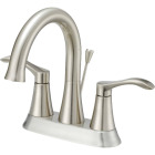 Home Impressions Brushed Nickel 2-Handle Lever 4 In. Centerset Bathroom Faucet with Pop-Up Image 1
