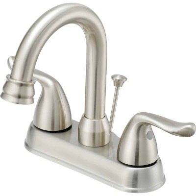 Home Impressions Brushed Nickel 2-Handle Lever 4 In. Centerset Hi-Arc Bathroom Faucet with Pop-Up
