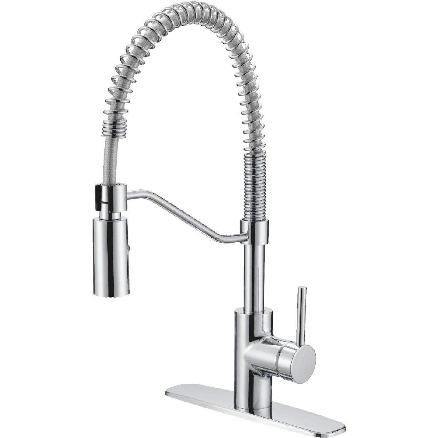 Home Impressions Single Handle Lever Commercial Pull-Down Kitchen Faucet, Chrome Image 1