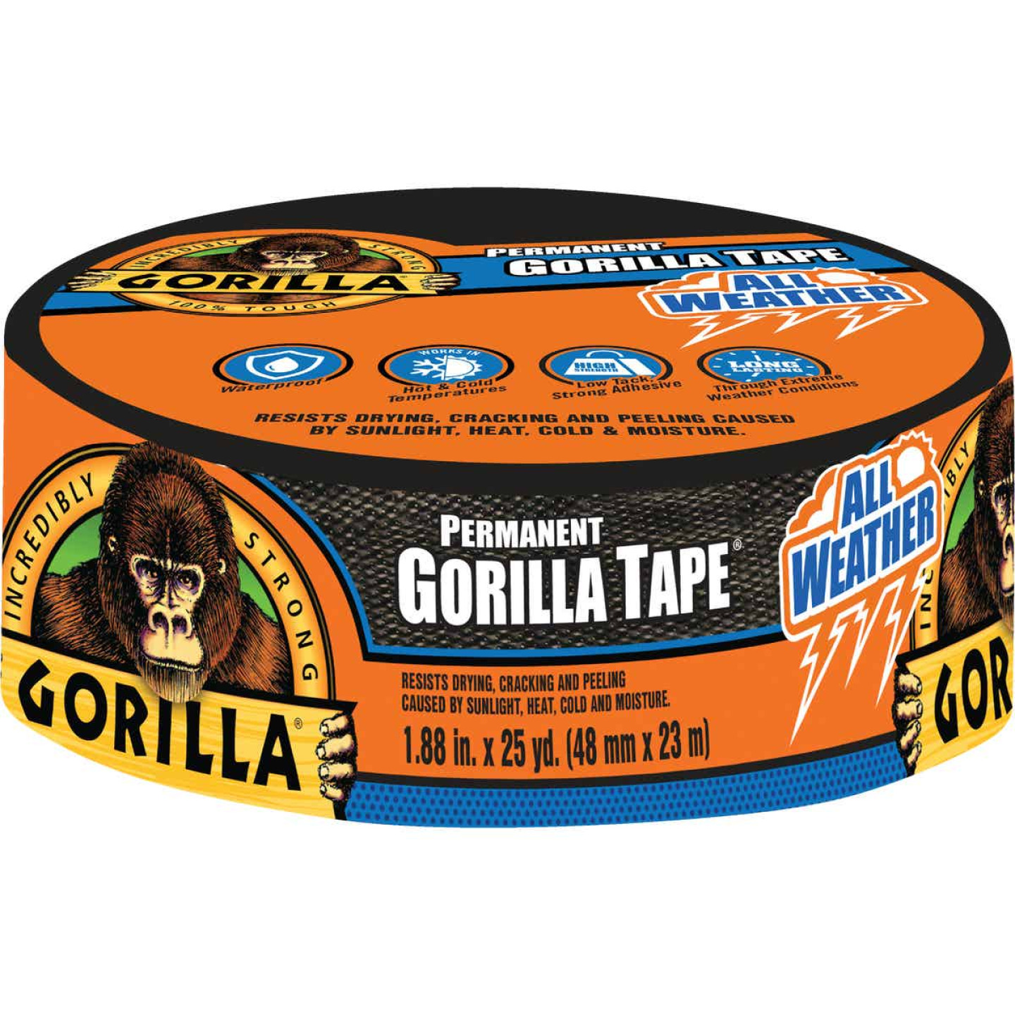 Gorilla 1.88 In. x 25 Yd. All Weather Repair Tape, Black Image 1