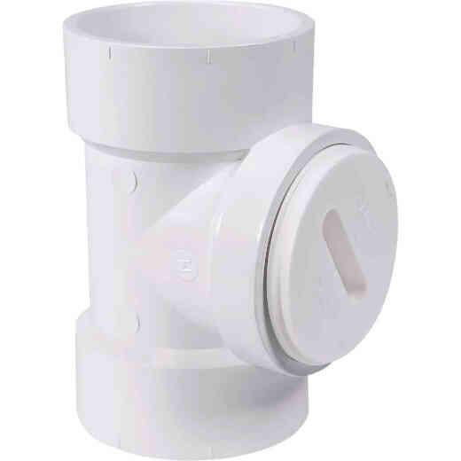 Charlotte Pipe 3 In. Test PVC Tee with Toe Saver Plug