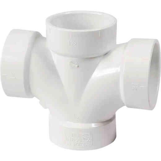 Charlotte Pipe 1-1/2 In. Double Sanitary DWV PVC Tee