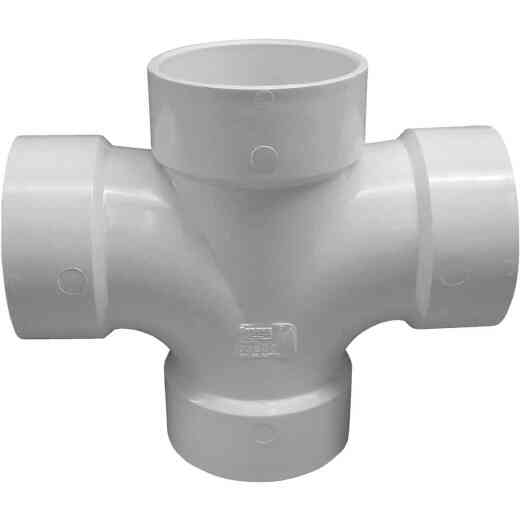 Charlotte Pipe 3 In. Double Sanitary DWV PVC Tee
