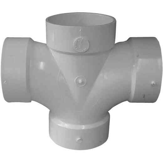 Charlotte Pipe 4 In. Double Sanitary DWV PVC Tee