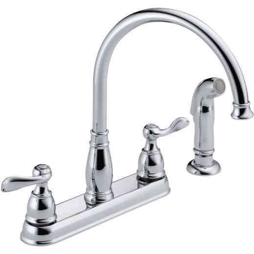 Delta Windemere Dual Handle Lever Kitchen Faucet with Side Spray, Chrome