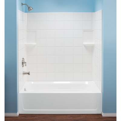 Mustee Topaz 3-Piece 60 In. L x 30 In. D (Bathtub) Tub Wall Kit in White (Tile Pattern)