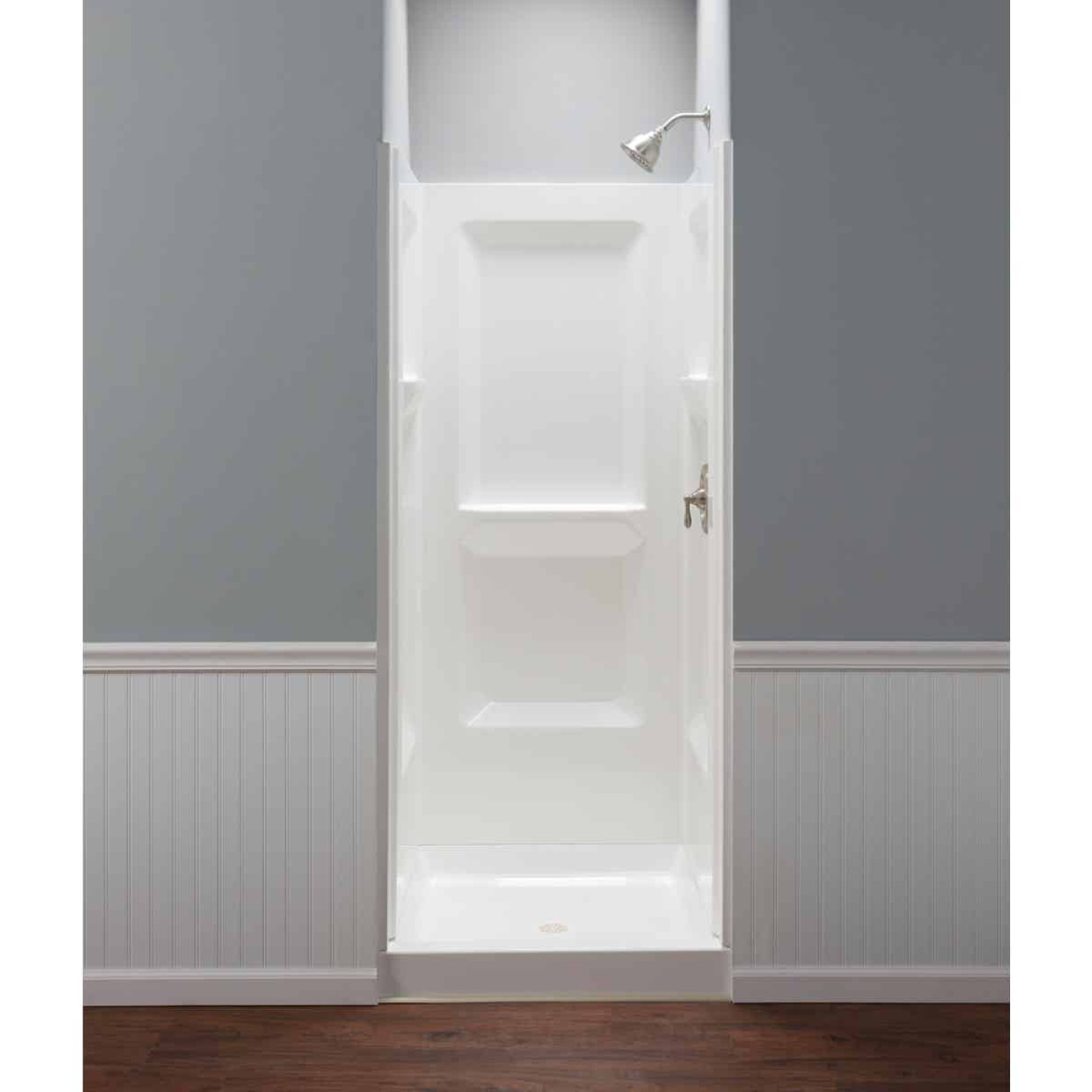 Mustee Durawall Model 700 3-Piece 32 In. W x 32 In. D Shower Wall Set in White Image 2