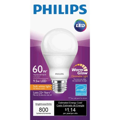 Philips Warm Glow 60W Equivalent Soft White A19 Medium Dimmable LED Light Bulb