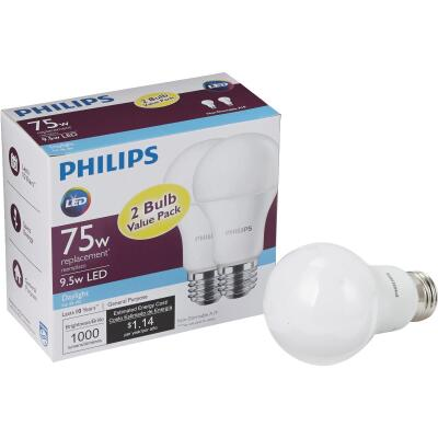 Philips 75W Equivalent Daylight A19 Medium LED Light Bulb (2-Pack)