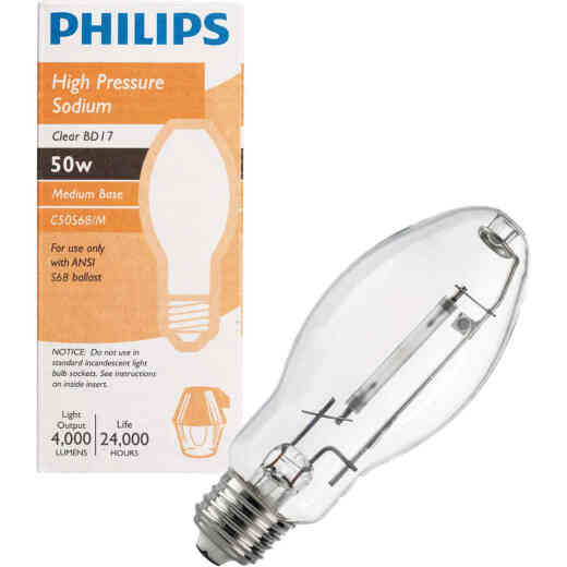 Philips 50W Clear BD17 Medium High-Pressure Sodium High-Intensity Light Bulb