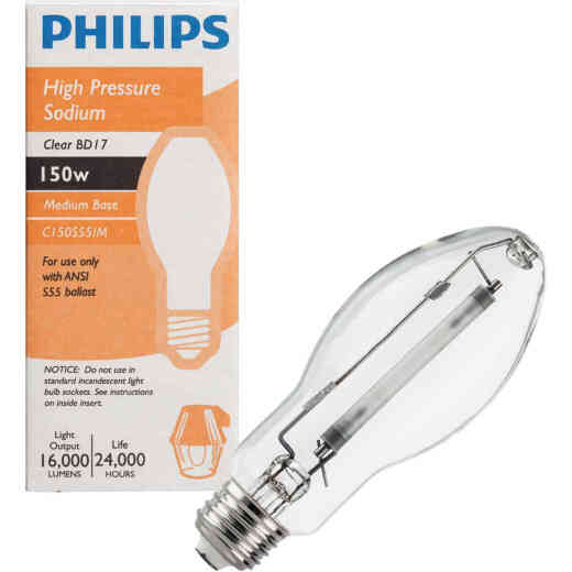 Philips 150W Clear BD17 Medium High-Pressure Sodium High-Intensity Light Bulb