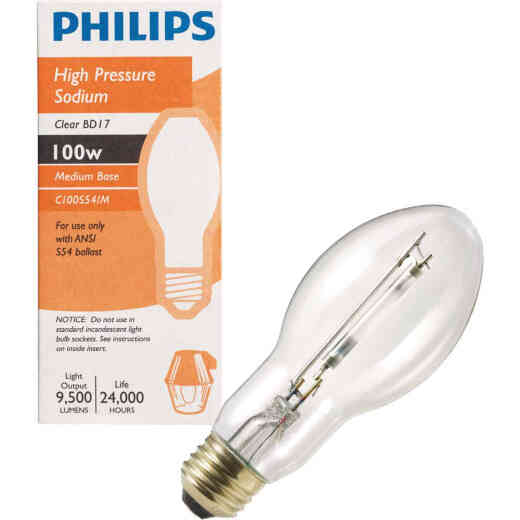 Philips 100W Clear BD17 Medium High-Pressure Sodium High-Intensity Light Bulb