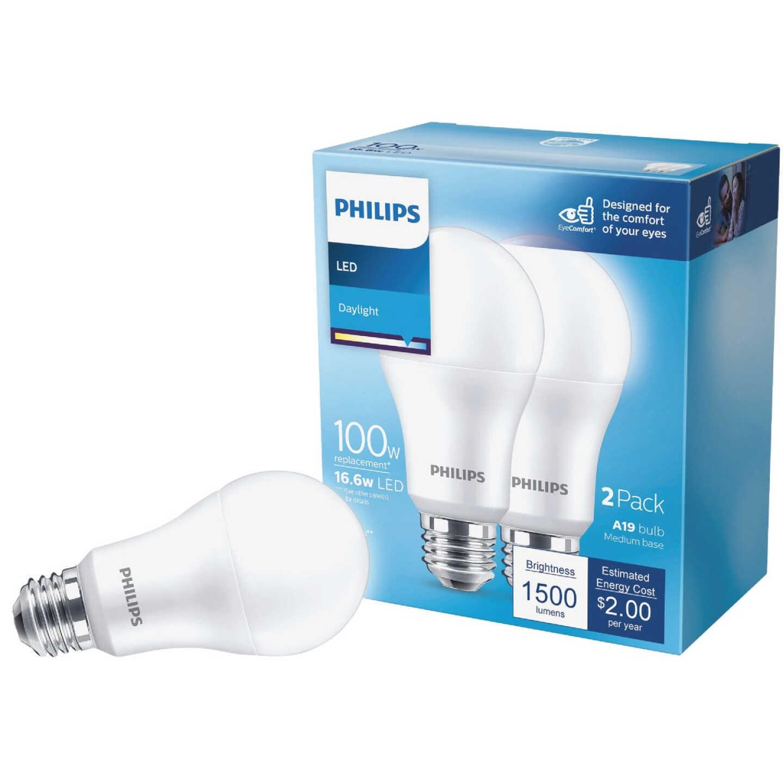 Philips 100W Equivalent Daylight A21 Medium LED Light Bulb (2-Pack) Image 1