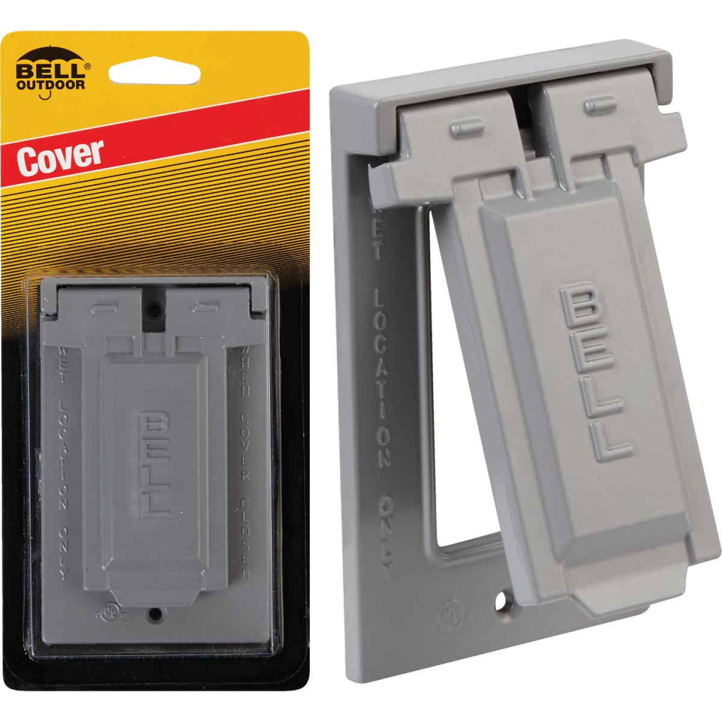 Bell Single Gang Vertical Mount Die-Cast Metal Gray Weatherproof GFCI Outdoor Outlet Cover Image 1